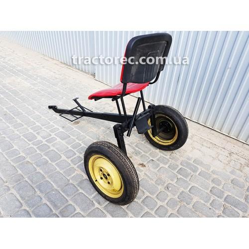 Адаптер до мотоблока із мяким сидінням та збільшеними колесами, підсилена рама та зчіпний пристрій
